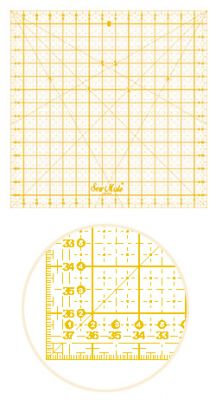 Quilting линеал, 380x380 mm, метричен, жълт